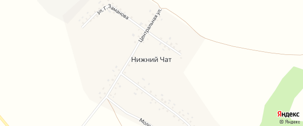 Центральная улица на карте деревни Нижнего Чата с номерами домов