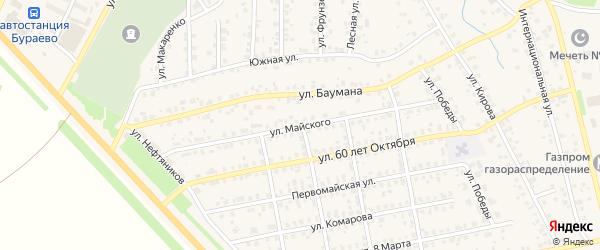 Улица Майского на карте села Бураево с номерами домов