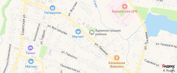 Улица Ленина на карте села Бураево с номерами домов