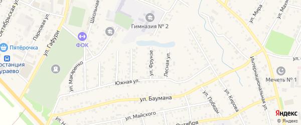 Улица Фрунзе на карте села Бураево с номерами домов