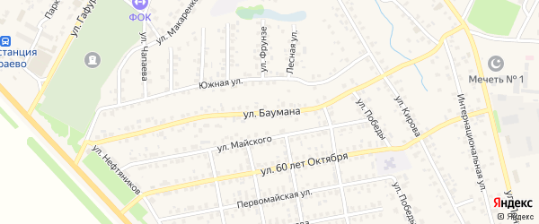 Улица Баумана на карте села Бураево с номерами домов