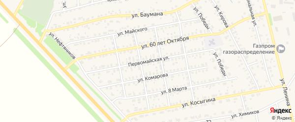Первомайская улица на карте села Бураево с номерами домов