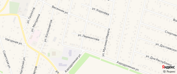 Улица Лермонтова на карте села Бураево с номерами домов