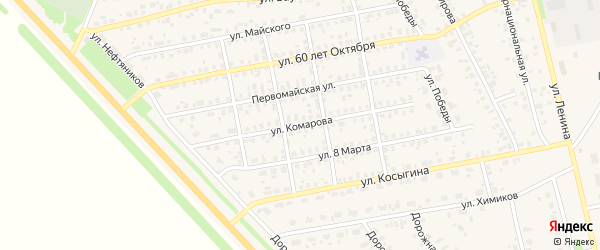 Улица Комарова на карте села Бураево с номерами домов