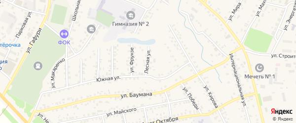 Лесная улица на карте села Бураево с номерами домов