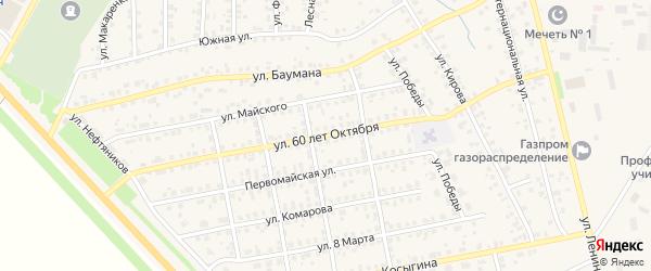 Улица 60 лет Октября на карте села Бураево с номерами домов
