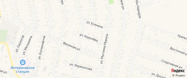 Улица Королева на карте села Бураево с номерами домов