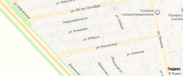 Улица 8 Марта на карте села Бураево с номерами домов