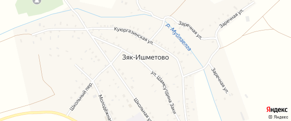 Заречная улица на карте села Зяк-Ишметово с номерами домов