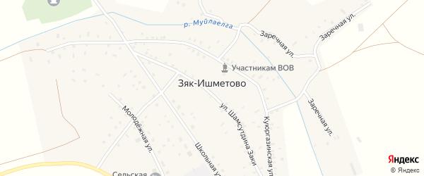Молодежная улица на карте села Зяк-Ишметово с номерами домов