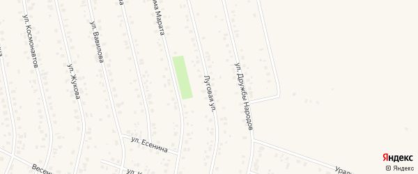 Луговая улица на карте села Бураево с номерами домов