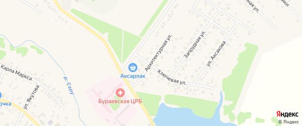 Архитектурная улица на карте села Бураево с номерами домов