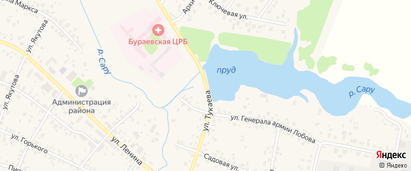 Улица Тукаева на карте села Бураево с номерами домов