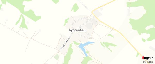 Карта деревни Бургынбаша в Башкортостане с улицами и номерами домов