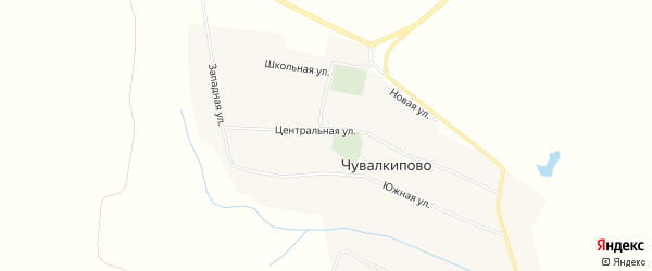 Карта села Чувалкипово в Башкортостане с улицами и номерами домов