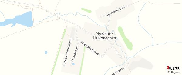 Карта села Чуюнчи-Николаевки в Башкортостане с улицами и номерами домов