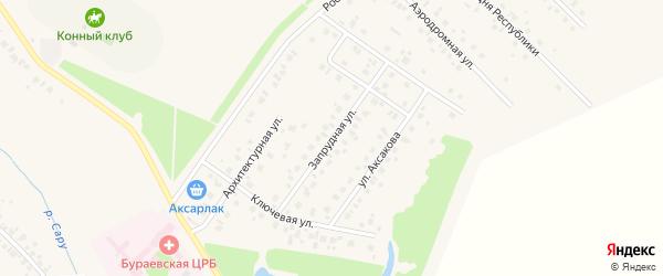 Запрудная улица на карте села Бураево с номерами домов