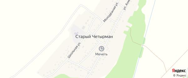 Школьный переулок на карте села Старого Четырмана с номерами домов