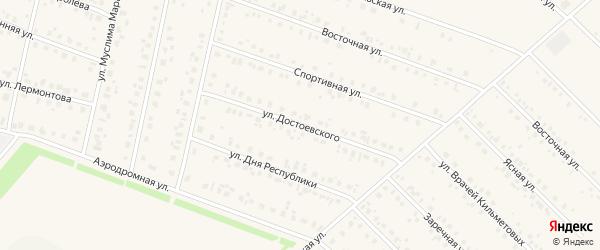 Улица Достоевского на карте села Бураево с номерами домов