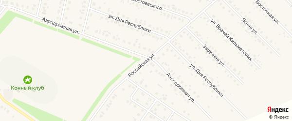 Российская улица на карте села Бураево с номерами домов