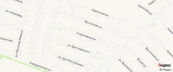 Спортивная улица на карте села Бураево с номерами домов