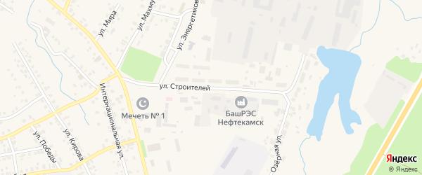 Улица Строителей на карте села Бураево с номерами домов