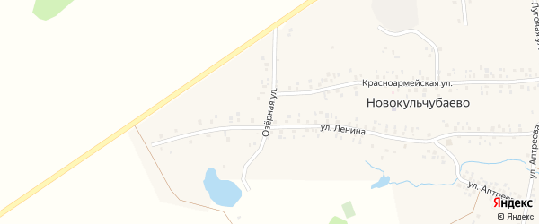 Озерная улица на карте села Новокульчубаево с номерами домов