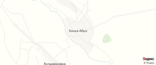 Карта деревни Киньи-Абыз в Башкортостане с улицами и номерами домов