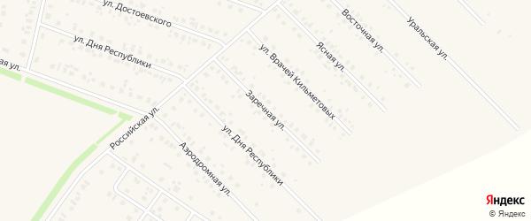 Заречная улица на карте села Бураево с номерами домов