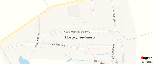 Красноармейская улица на карте села Новокульчубаево с номерами домов