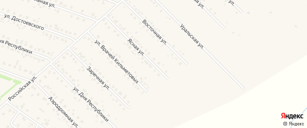 Ясная улица на карте села Бураево с номерами домов