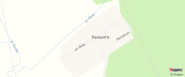 Улица Якау на карте села Кызылги с номерами домов