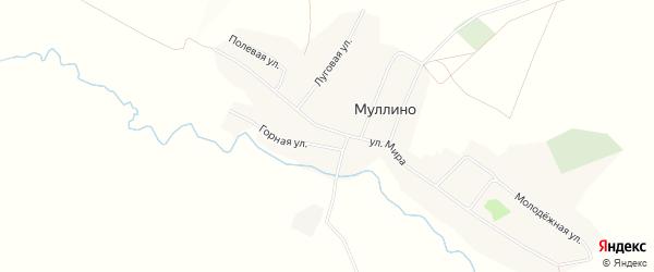 Карта деревни Муллино в Башкортостане с улицами и номерами домов
