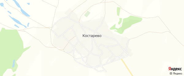 Карта села Костарево в Башкортостане с улицами и номерами домов