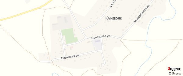 Советская улица на карте села Кундряк с номерами домов
