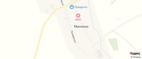 Полевая улица на карте деревни Минлино с номерами домов