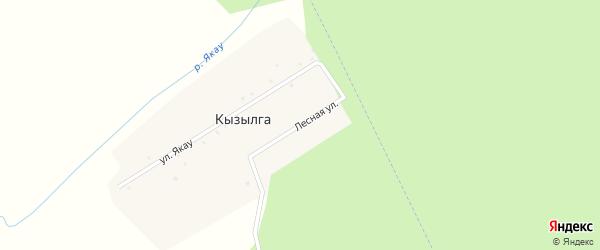 Лесная улица на карте села Кызылги с номерами домов