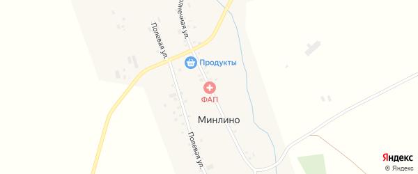 Солнечная улица на карте деревни Минлино с номерами домов