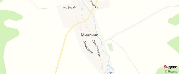 Карта деревни Минлино в Башкортостане с улицами и номерами домов