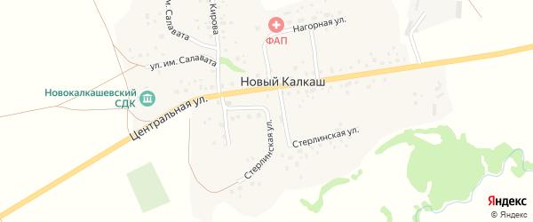 Центральная улица на карте деревни Нового Калкаша с номерами домов