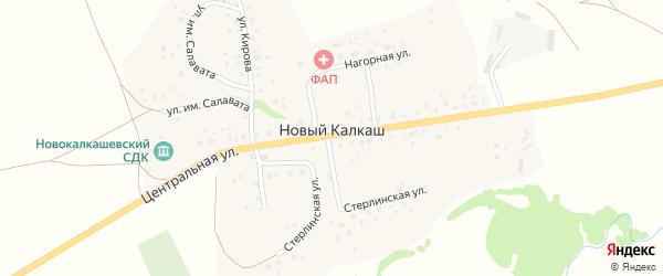 Нагорная улица на карте деревни Нового Калкаша с номерами домов