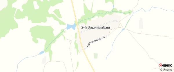 Карта деревни 2-й Зиримзибаша в Башкортостане с улицами и номерами домов