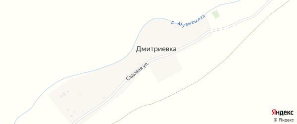 Садовая улица на карте деревни Дмитриевки с номерами домов