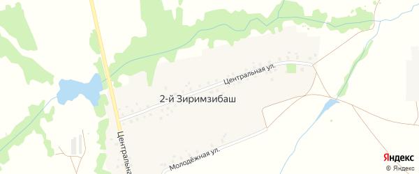 Центральная улица на карте деревни 2-й Зиримзибаша с номерами домов