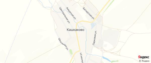 Карта деревни Кашкаково в Башкортостане с улицами и номерами домов