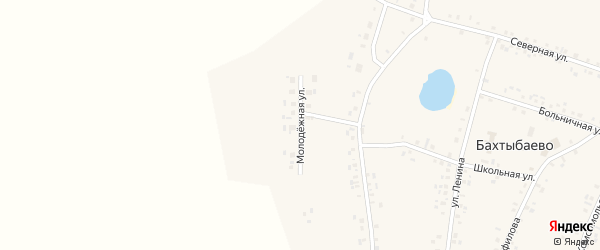 Молодежная улица на карте села Бахтыбаево с номерами домов