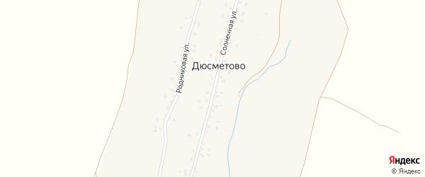 Солнечная улица на карте деревни Дюсметово с номерами домов
