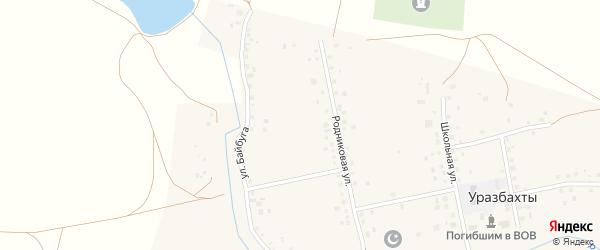 Родниковая улица на карте села Уразбахтов с номерами домов