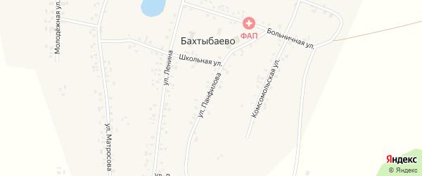 Улица Панфилова на карте села Бахтыбаево с номерами домов