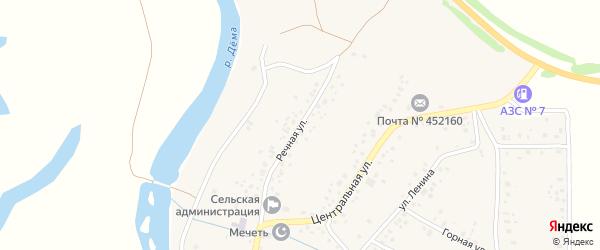 Речная улица на карте села Кара-Якупово с номерами домов